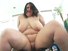 Busty horny fatty eats tasty sperm after hard fuck great bbw