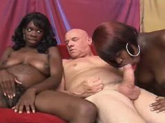 Preggy black girls share white cock in wild orgy