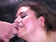 Beautiful plumper slurps cum after fucks great bbw