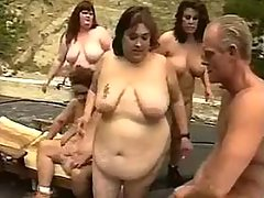 Fat mature gets cum in orgy outdoor great bbw