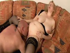 Blonde pregnant milf in stockings licked by man great bbw