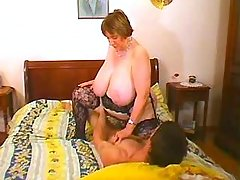 Depraved fat granny fucked and cummed by young guy great bbw