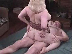 Depraved Chubby lady fucking with dude on bed great bbw