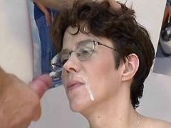 Pregnant milf gets hard fuck and cumload on face great bbw