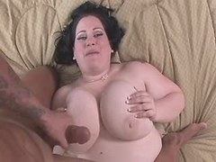 Dude cum on melon titted pretty BBW on bed great bbw