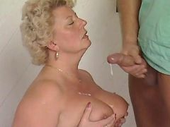 Mature BBW gets cum on round tits great bbw