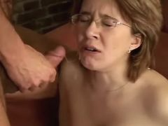 Pregnant cutie gets cumload after fuck on sofa great bbw