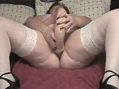 Chubby mature prefers huge dildo great bbw