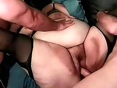 Horny BBW drinks fresh cum in orgy great bbw