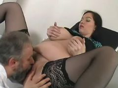 Doc licks and fucks pregnant chick in stockings great bbw
