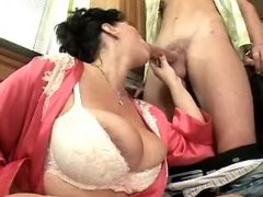 Plump mature sucks hard cock of guy great bbw