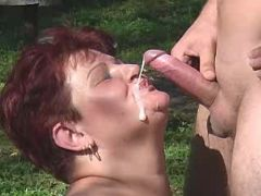 Lusty fat mature gets cum on face great bbw