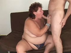 Flabby mature sucking cock of guy great bbw