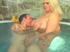 Fat blonde cutie spoils guy in pool great bbw