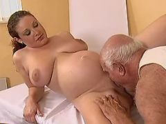 Pregnant curly cutie licked and fucked by old man great bbw
