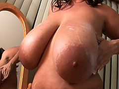 Big Maria fucks big cock while squeezing nips great bbw