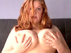 Redhead BBW massages her mammaries great bbw