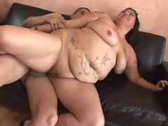Flabby whore jumps on strong dick great bbw