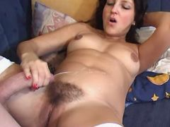 Pregnant girl assfucks and gets cum on hairy pussy great bbw