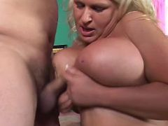 Blonde plumper titsfucks and sucks great bbw
