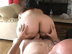 Enormous fat housewife enjoys vibrator on sofa great bbw