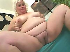 Fat blonde granny in red sucks cock great bbw