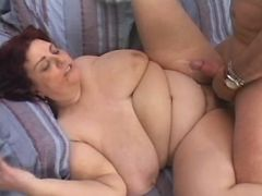 Fat mature gets cum on flabby belly great bbw