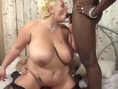 Interracial guys share fat blonde great bbw