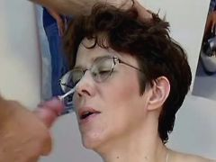 Pregnant mature gets cum on glasses after fuck great bbw